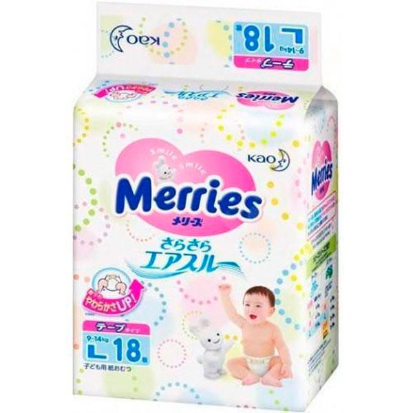 Merries 509086 Подгузники L (9-14 кг), 18 шт