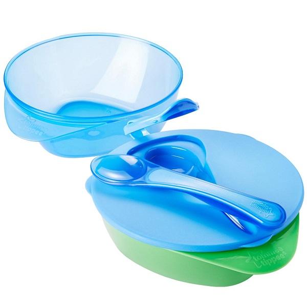 TOMMEE TIPPEE Набор глубоких тарелочек 2 штуки с крышкой и ложкой (голубой)